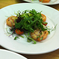 Smoked salmon roulade served at Swanmore Village Ball